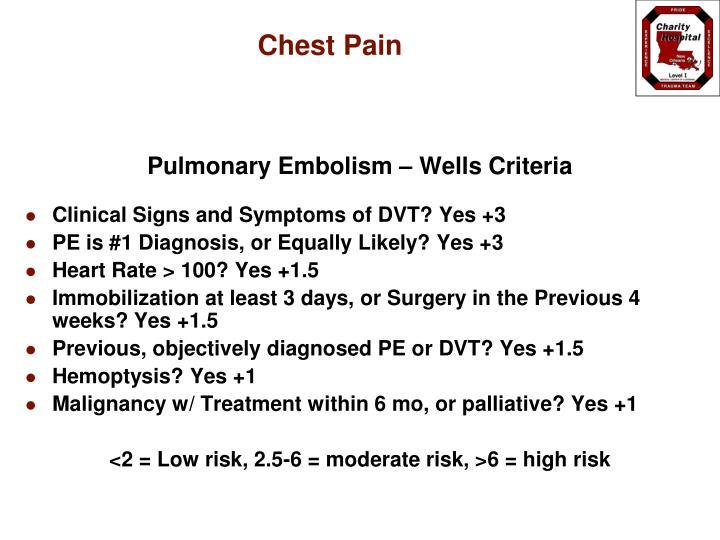 Pulmonary Embolism – Wells Criteria