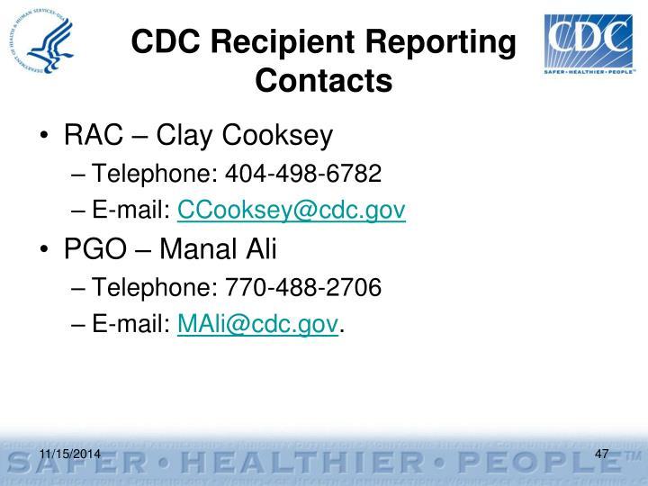 CDC Recipient Reporting