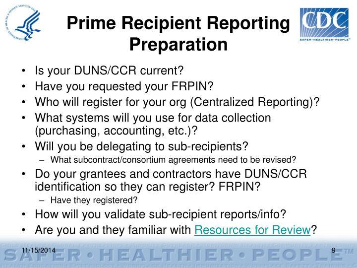 Prime Recipient Reporting