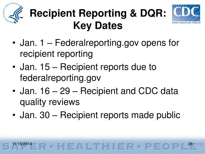Recipient Reporting & DQR: