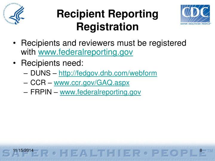 Recipient Reporting