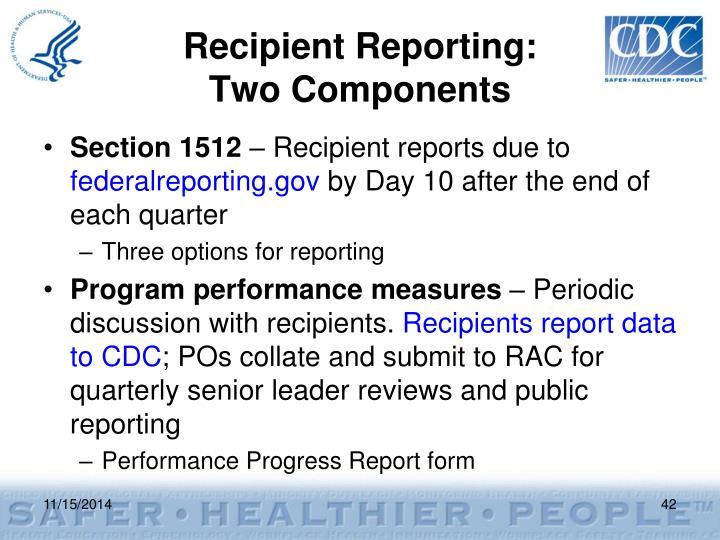 Recipient Reporting: