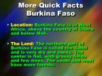 more quick facts burkina faso