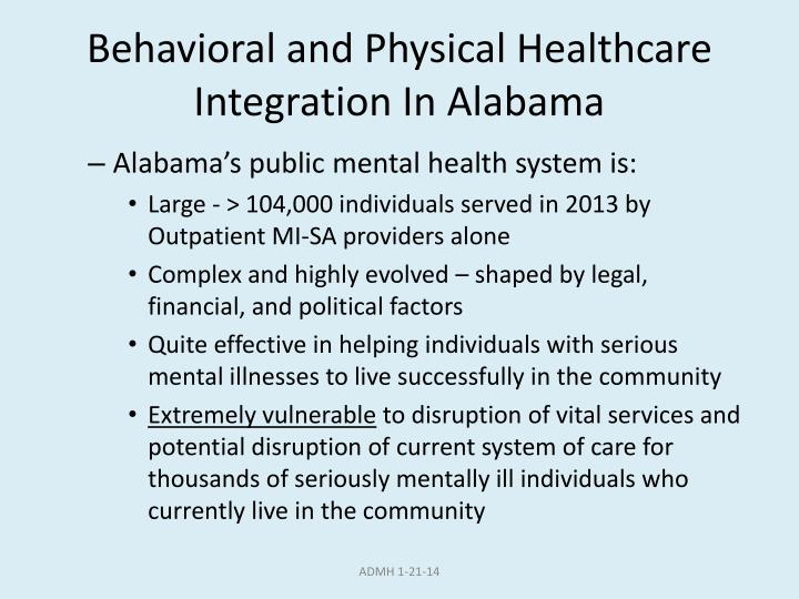 Behavioral and Physical Healthcare Integration In Alabama