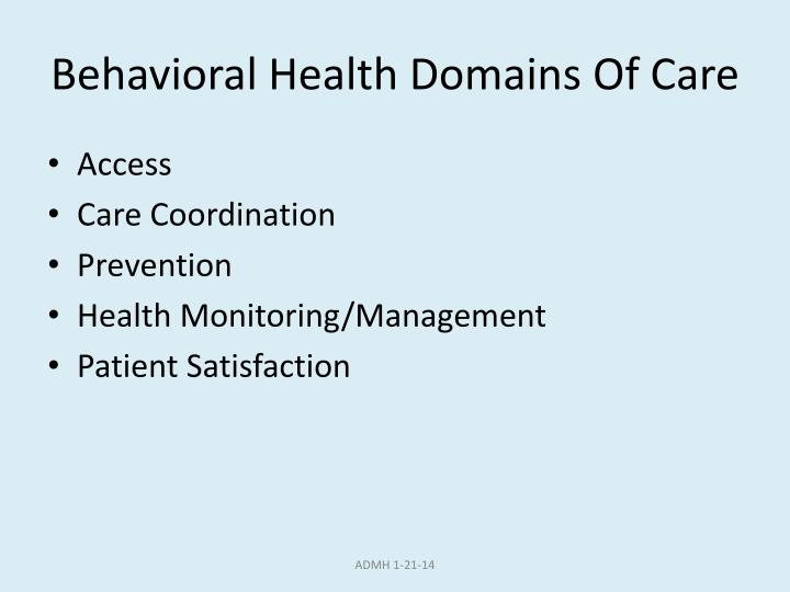 Behavioral Health Domains