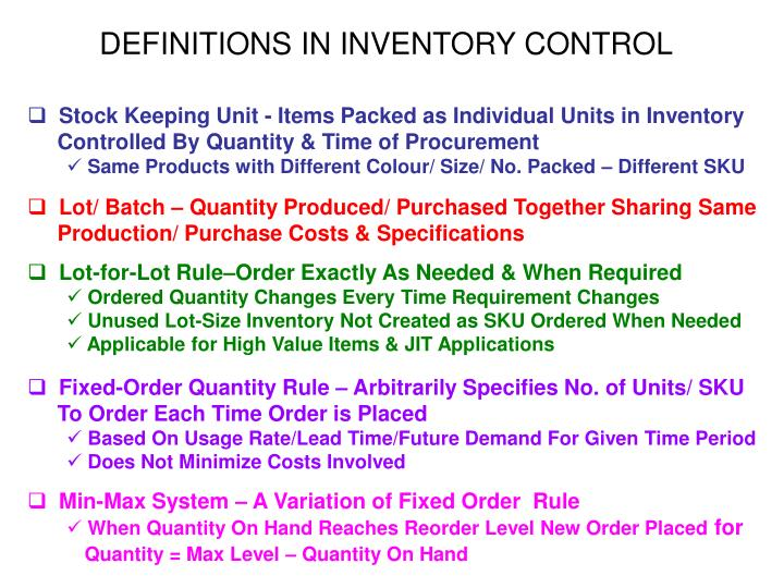 DEFINITIONS IN INVENTORY CONTROL