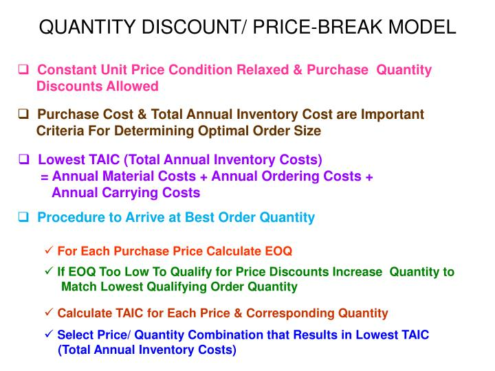 QUANTITY DISCOUNT/ PRICE-BREAK MODEL