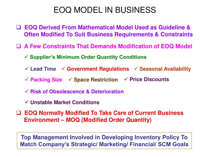 EOQ MODEL IN BUSINESS