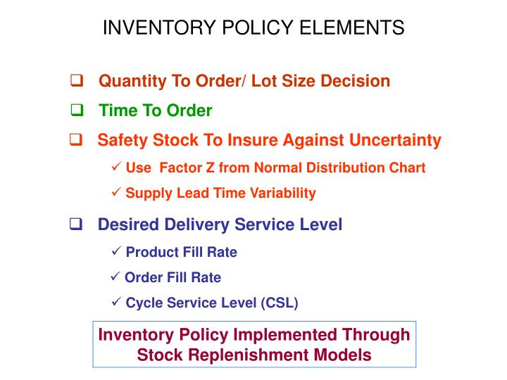 INVENTORY POLICY ELEMENTS