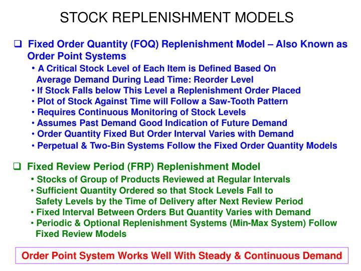 STOCK REPLENISHMENT MODELS