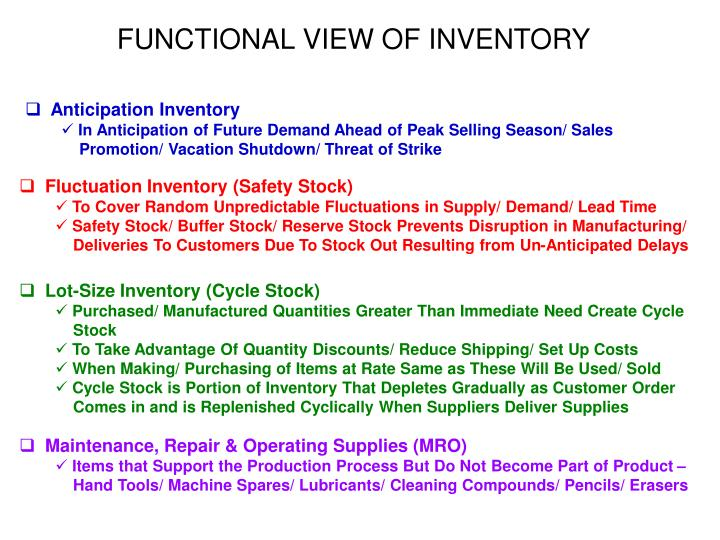 FUNCTIONAL VIEW OF INVENTORY