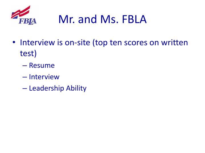 Mr. and Ms. FBLA