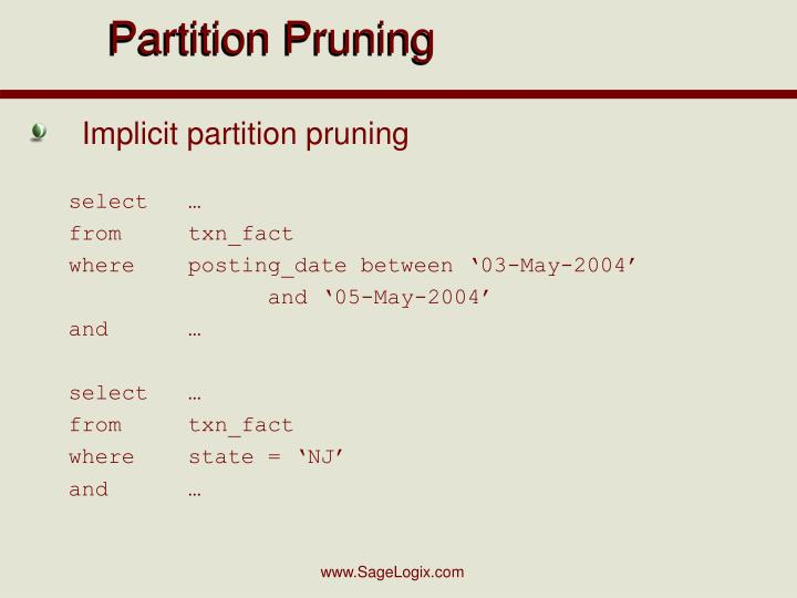 Partition Pruning
