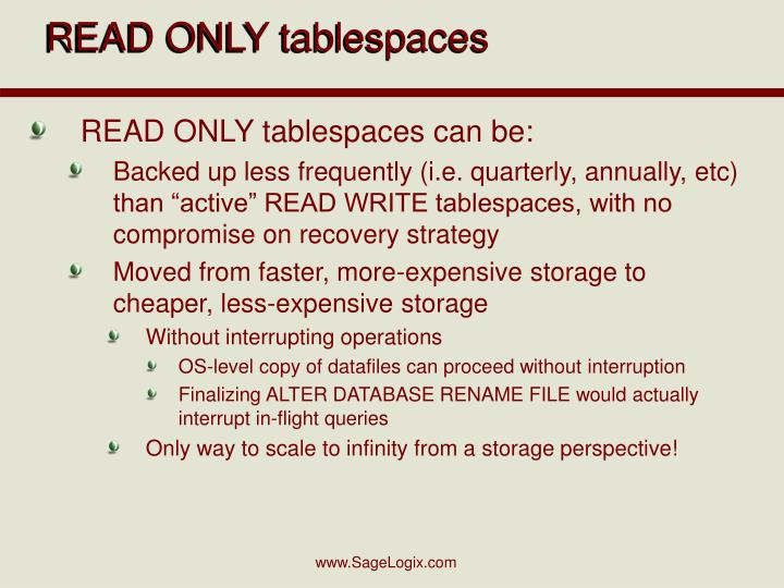 READ ONLY tablespaces