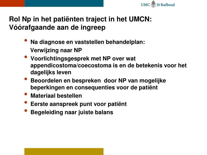 Rol Np in het patiënten traject in het UMCN: