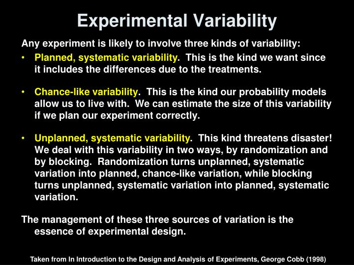 an introduction to the analysis of the experiment