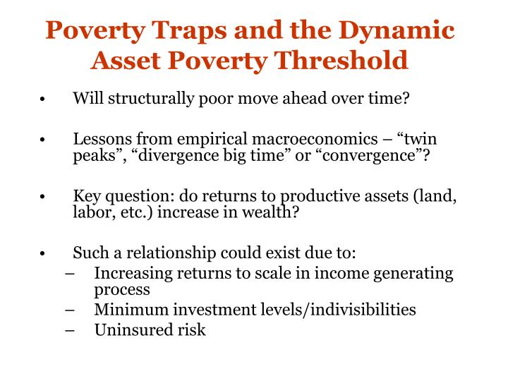 Poverty Traps and the Dynamic Asset Poverty Threshold