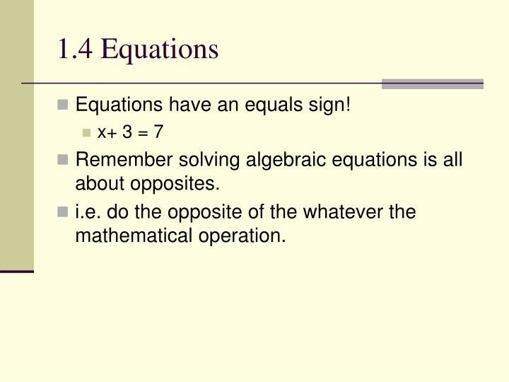 1.4 Equations