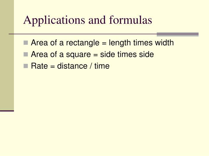 Applications and formulas
