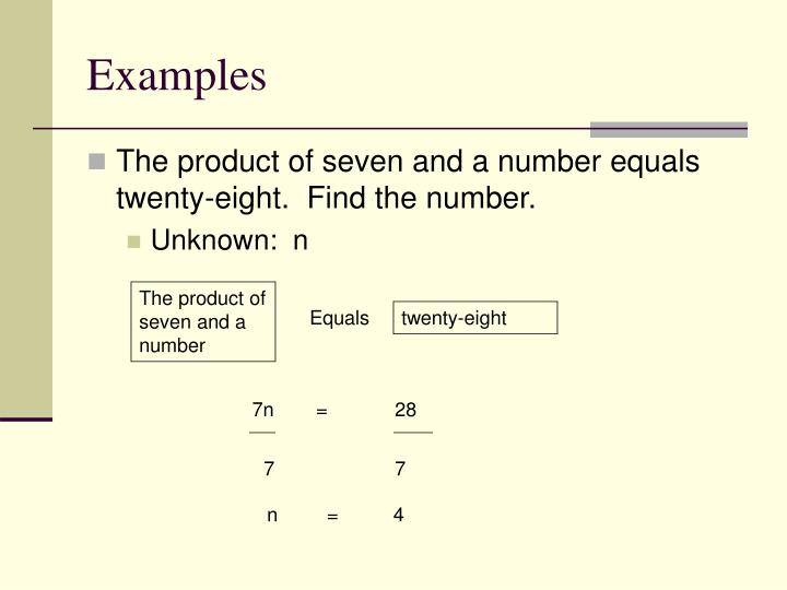 The product of seven and a number
