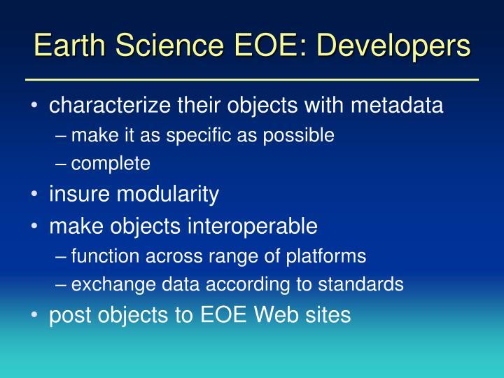 Earth Science EOE: Developers
