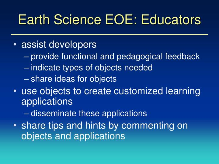 Earth Science EOE: Educators