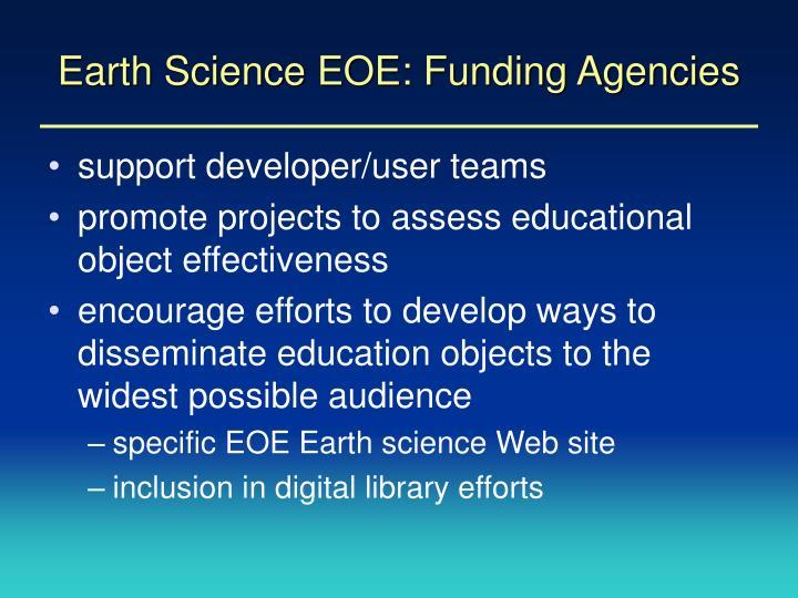 Earth Science EOE: Funding Agencies