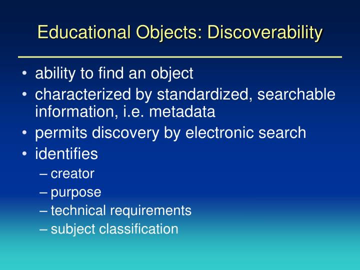 Educational objects discoverability