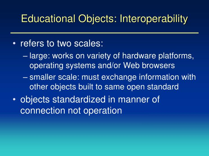 Educational Objects: Interoperability