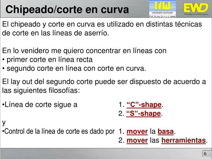 Chipeado/corte en curva