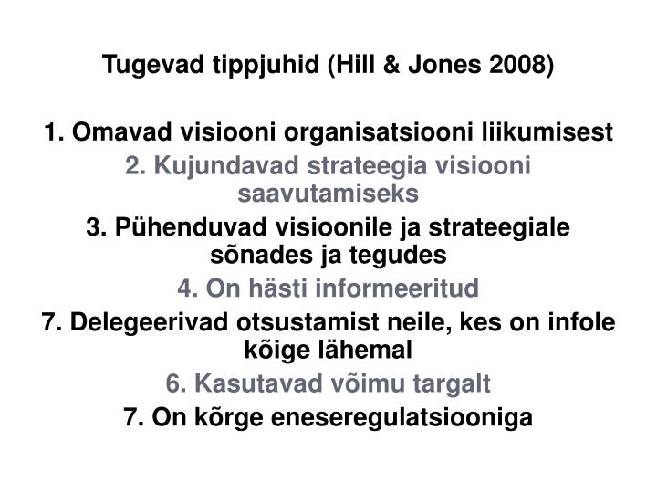 Tugevad tippjuhid (Hill & Jones 2008)