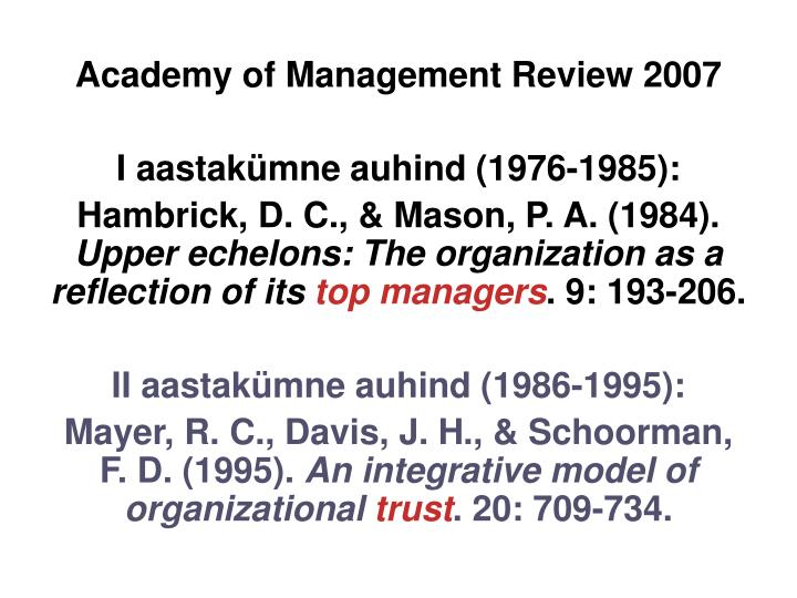 Academy of Management Review 2007