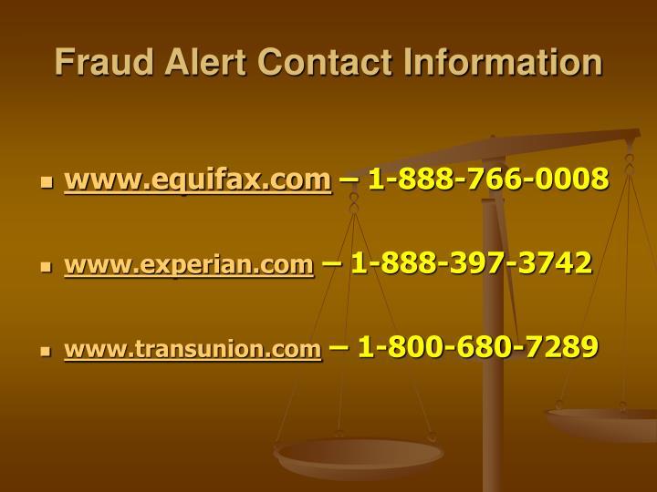 Fraud Alert Contact Information