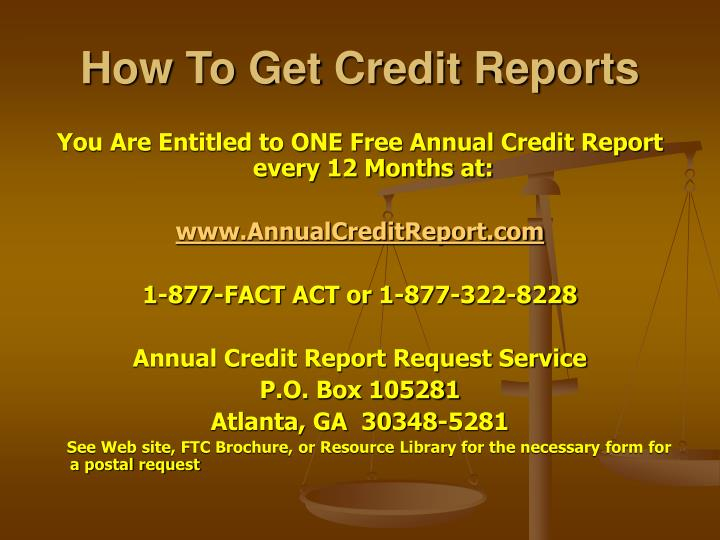 How To Get Credit Reports