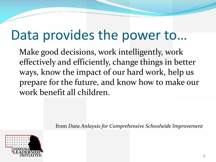 Data provides the power to…