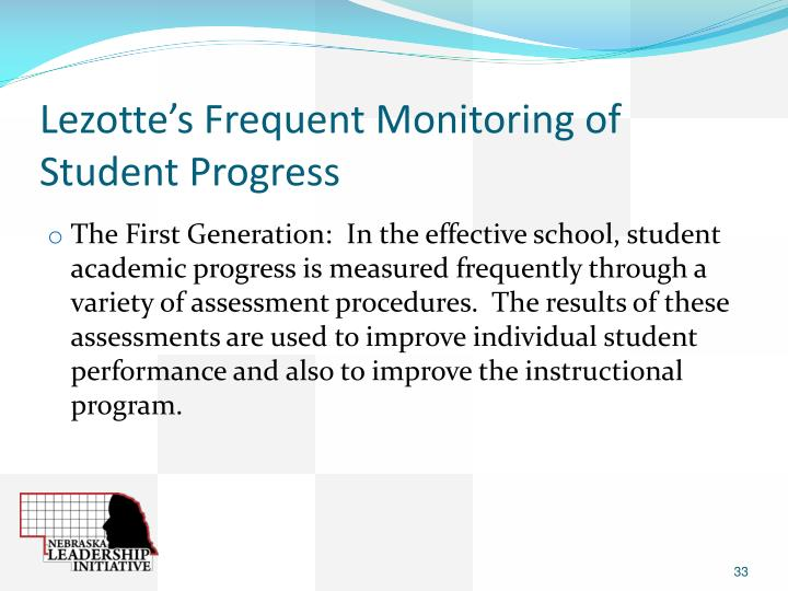 Lezotte's Frequent Monitoring of Student Progress