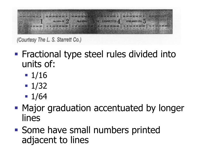 Fractional type steel rules divided into units of: