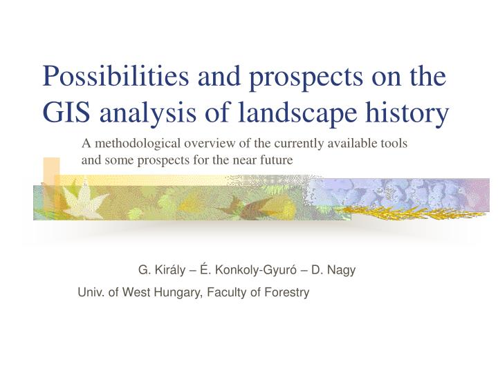 Possibilities and prospects on the gis analysis of landscape history