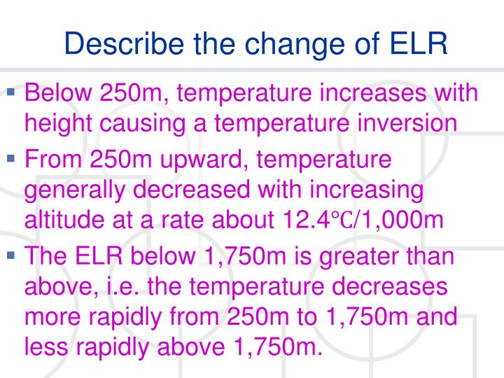 Describe the change of ELR