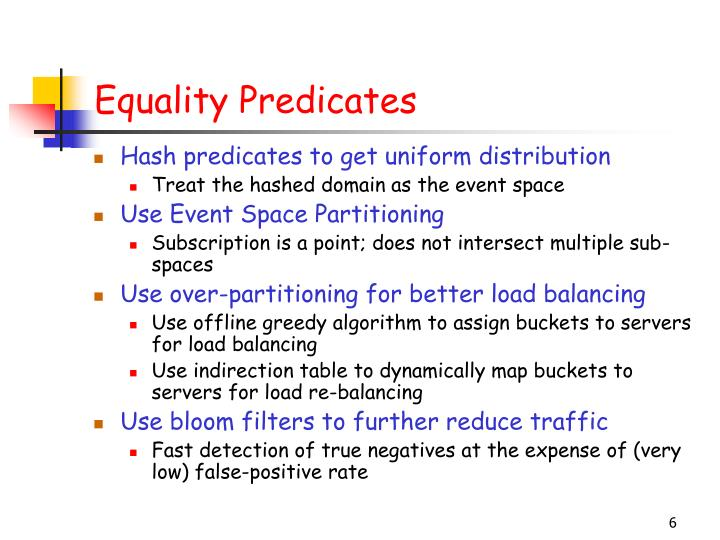 Equality Predicates