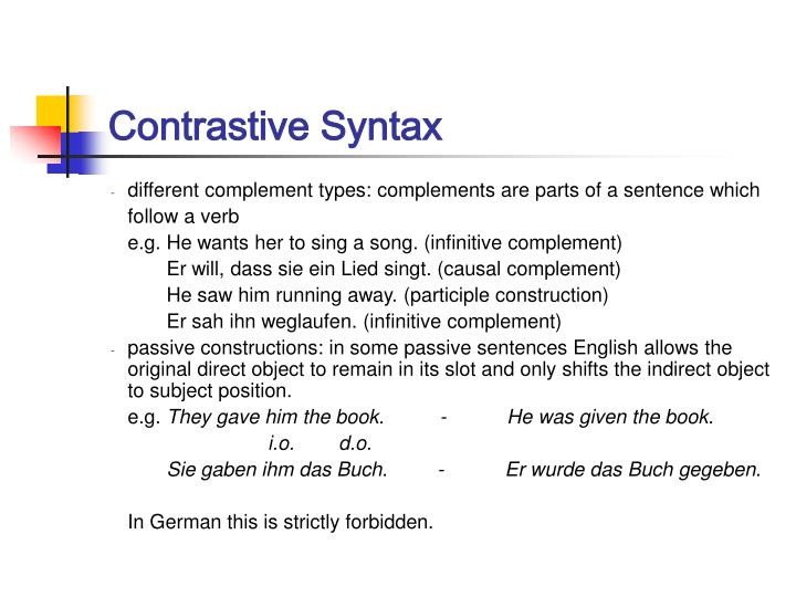 Contrastive Syntax