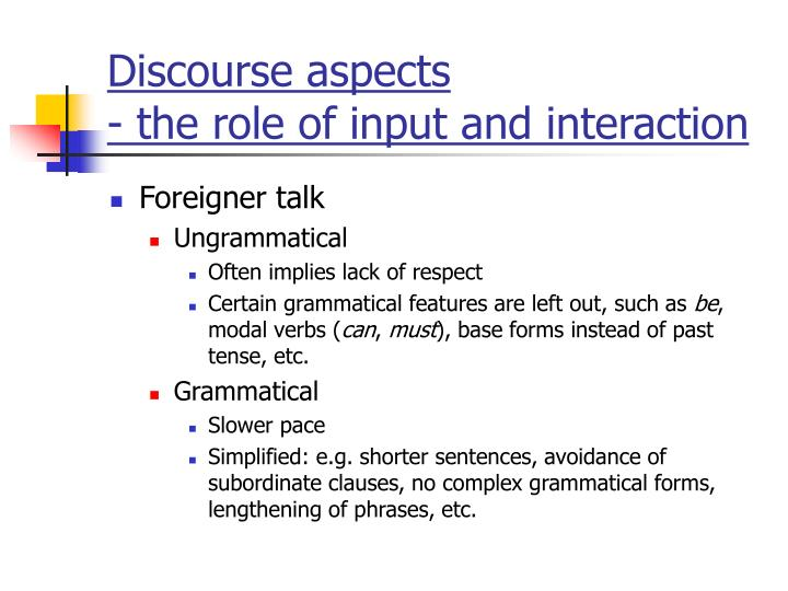 Discourse aspects