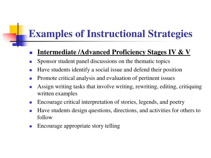 Examples of Instructional Strategies
