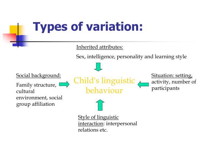 Types of variation:
