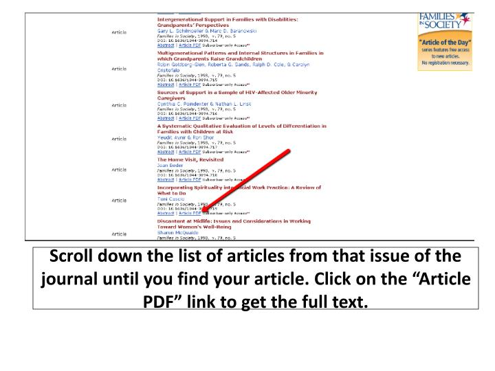 "Scroll down the list of articles from that issue of the journal until you find your article. Click on the ""Article PDF"" link to get the full text."