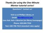 thanks for using the one minute mentor tutorial series