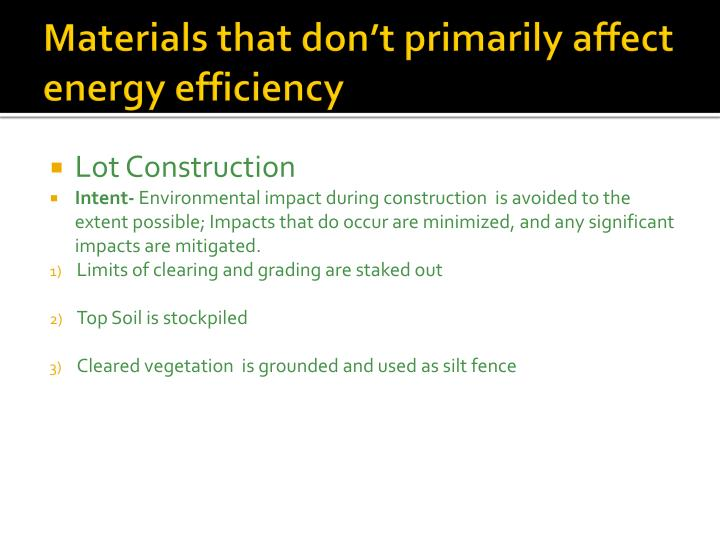 Materials that don t primarily affect energy efficiency
