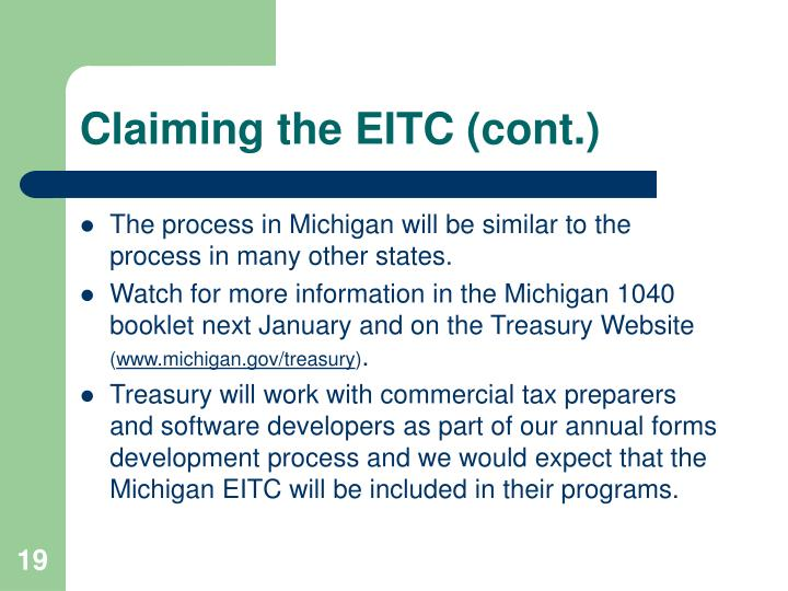 Claiming the EITC (cont.)