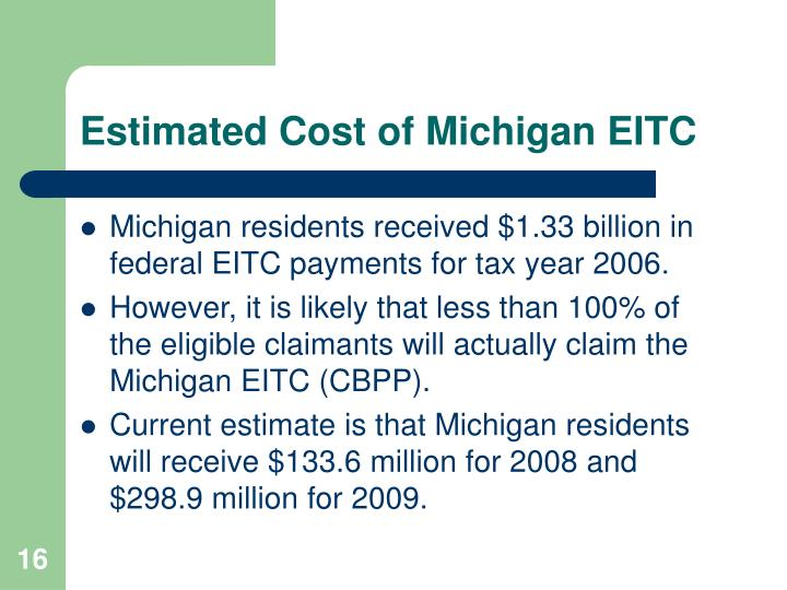 Estimated Cost of Michigan EITC