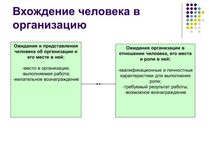 Ожидания и представления человека об организации и его месте в ней: